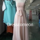 Long Bridesmaid Dress, Princess Strapless Floor-length Chiffon Bridesmaid Dress