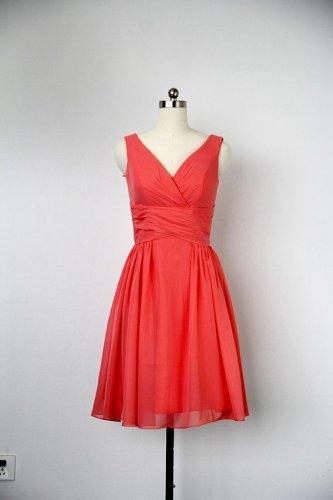 Red chiffon v neck short bridesmaid dress,off the shoulder knee length cheap bridesmaid dress