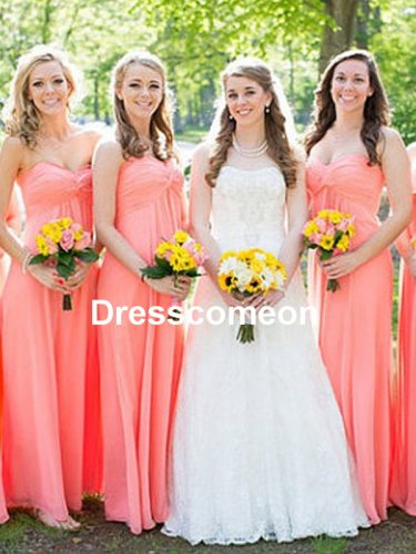 Custom Made A-line Chiffon Bridesmaid Dress,Chiffon Long Prom Dress,Affordable Bridesmaid Dress