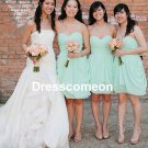 Knee Length Chiffon Bridesmaid Dress,Cheap Bridesmaid Dress,Evening Dress,Sweetheart Prom Dress