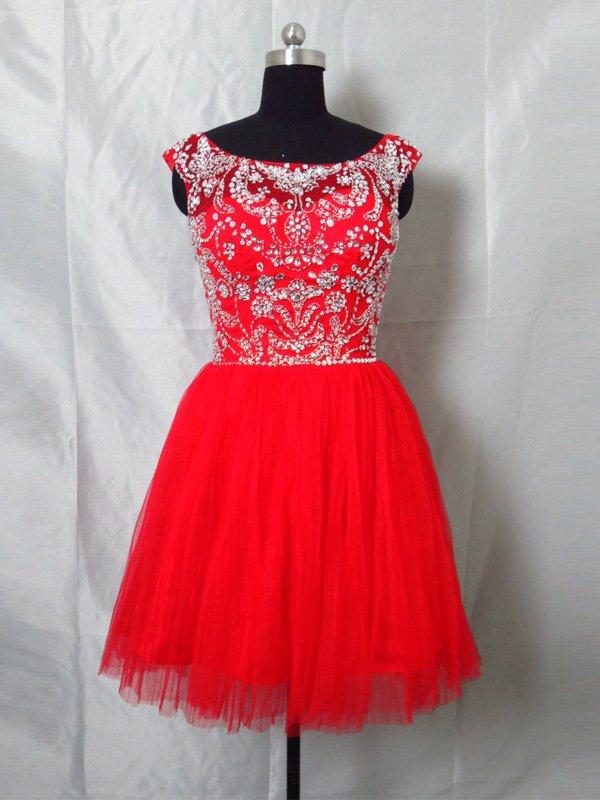 Custom Made Red Open Back V-back Beading Short Prom Dress,Cocktail Dress 2014 Homecoming Dress