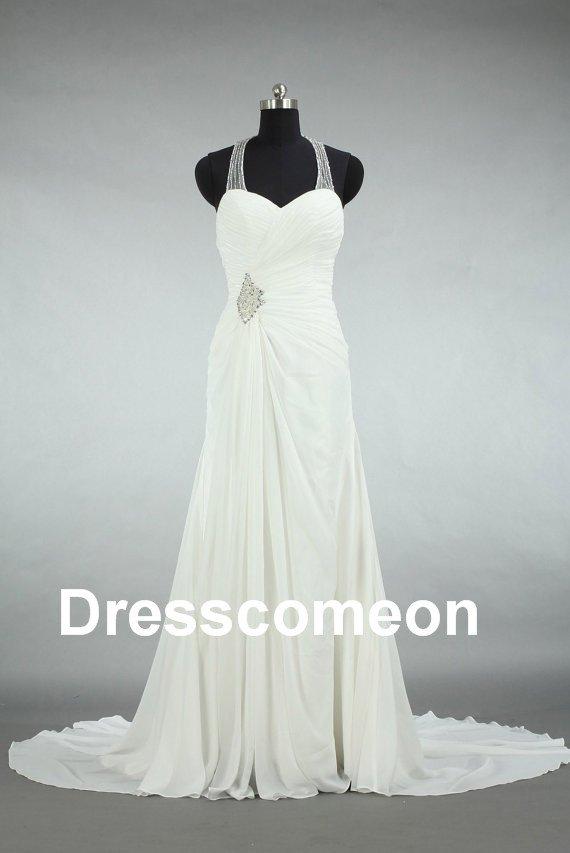 Custom Made  A-line Chiffon Bridal Dress,A-line Backless  Floor-length  Wedding Dress/Bridal Gown