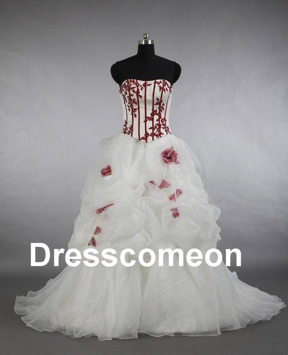 Custom Made  Embroidery  Wedding Dress,A-line Strapless  Floor-length  Wedding Dress/Bridal Gown