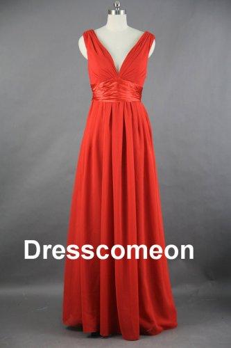Red Chiffon v neck Long Bridesmaid dress, Affordable  Bridesmaid Dress,Prom Dress
