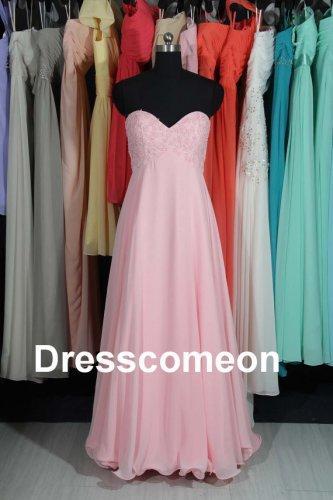 Pink Chiffon Sweetheart Long Bridesmaid Dress, Lovely Bridesmaid Dress,Prom Dress