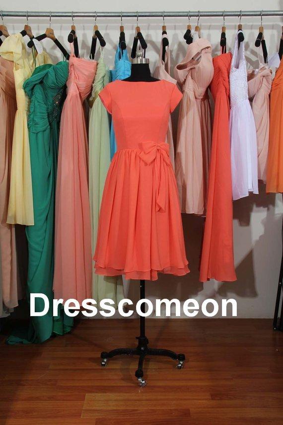 Custom Made  Chiffon  Scoop  Short Bridesmaid Dress, Short Sleeves Prom Dress ,Prom Dress