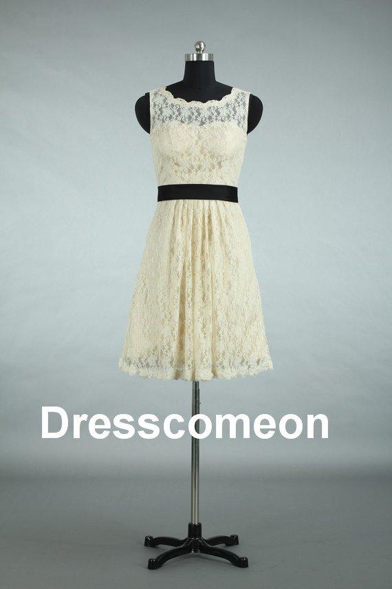 Custom Made  Lace  Scoop Short Bridesmaid Dress, Sleeveless Prom Dress ,Evening Dress