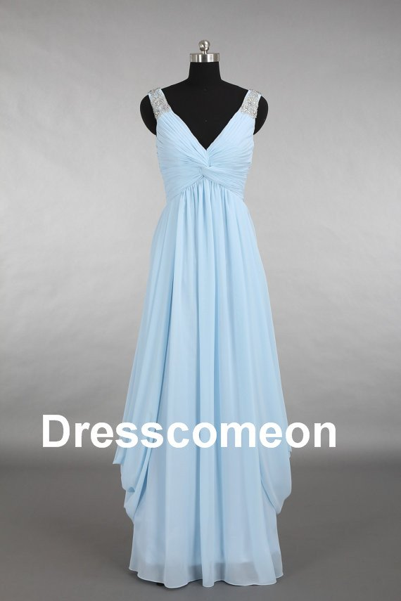 Custom Made V-neck Chiffon  Beading Long Bridesmaid Dress, Party Dress,Prom Dress