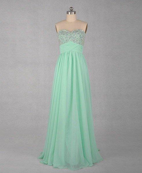 Custom Made A-line Beading Sweetheart Mint Prom Dress,Beading Homecoming Dress�Long Evening Dress