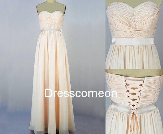 Custom Made A-line  Sweetheart   Champagne  long Prom Dress,bridesmaid dress Homecoming Dress