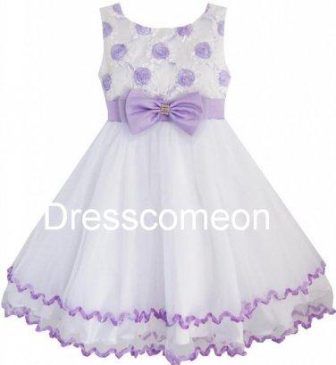 Country Flower Girl Tutlle Dress/Girl Ball Gown/Floor-length  Girls Flower Dress with Belt