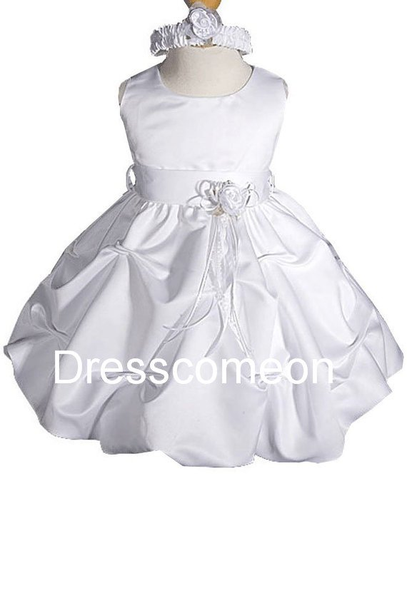 White Flower Girl Dress Communion Dress �Satin Dress