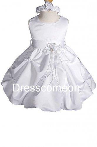 White Flower Girl Dress Communion Dress �Satin Dress