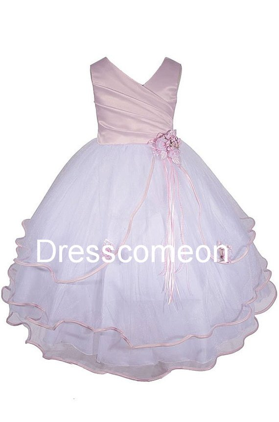 White Wavy Bottom Dress with PINK Sash  Flower Girl Dress