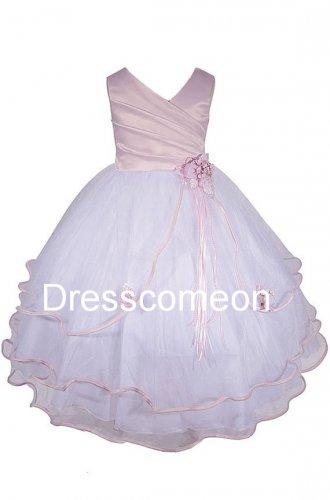White Wavy Bottom Dress with PINK Sash  Flower Girl Dress