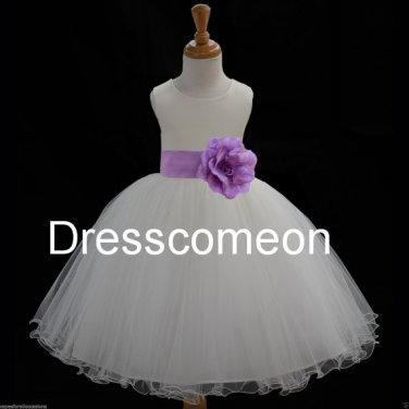 White Organza flower girl dress with sash and flower ,elegant  long girl dresses