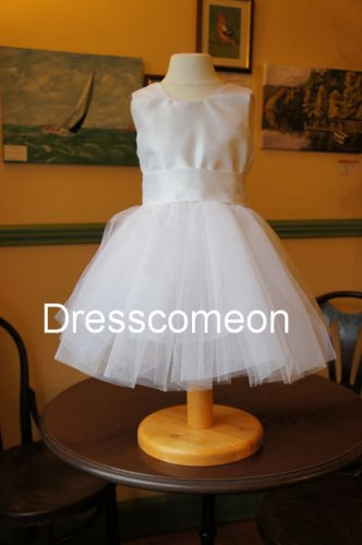 Simple Scoop  Long Graduation Pageant Dress and Satin ,Tulle Flower Girl Dresses
