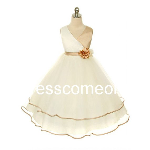 Custom  Made V-neck Long  Organza Flower Girl Dress with flower, Special Flower Girl Dress