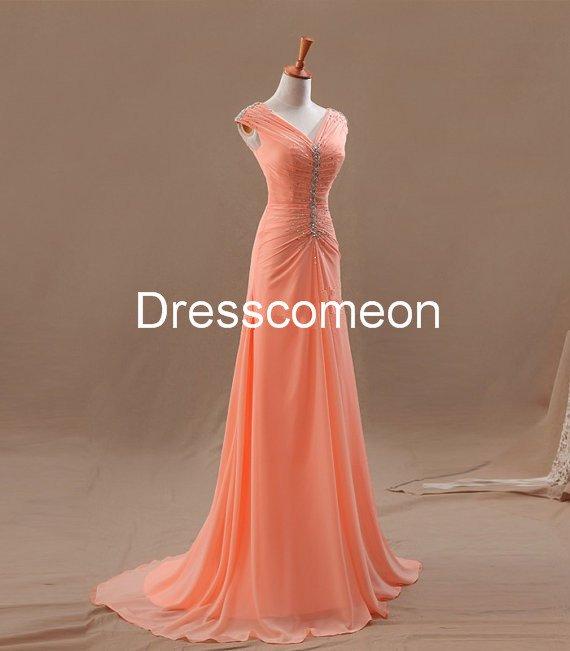 Custom Made A-line  V-neck  Long Prom Dress, Elegant Homecoming Dress