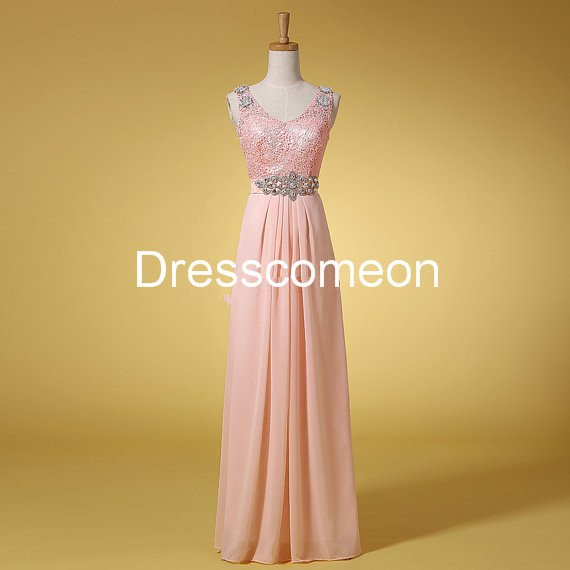 Custom Made A-line  V-neck  Straps Sequin Top Long Homecoming Dress, Beading Belt Prom Dress