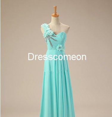 Custom Made A-line  One-shoulder  Flowers Long Homecoming Dress, Beading Prom Dress