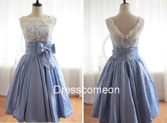 Elegant  A-line Bateau  Blue Taffeta Homecoming Dress, Short Bowknot  Homecoming  Dress