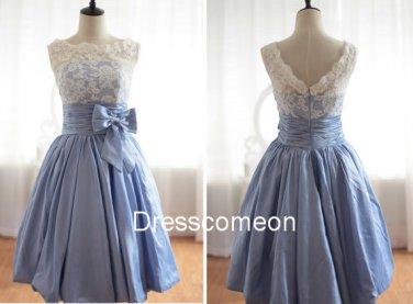 Elegant  A-line Bateau  Blue Taffeta Homecoming Dress, Short Bowknot  Homecoming  Dress