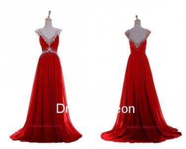 Elegant  A-line V-neck  Elastic Satin  Long Homecoming Dress, Long Beading  Evening Dress