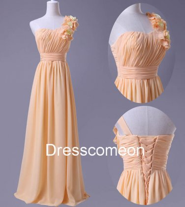 A-line One-shoulder Flower  Chiffon Long Homecoming Dress, Long  Bridesmaid Dress