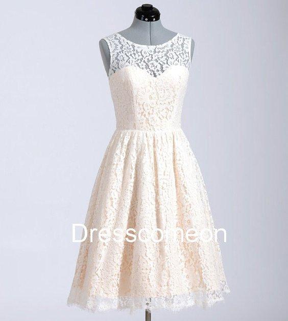 High Neck Chamage Lace  Homecoming Dress,Illusion Sleeveless Handmade Cheap Short Prom Dress