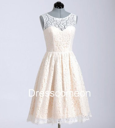 High Neck Chamage Lace  Homecoming Dress,Illusion Sleeveless Handmade Cheap Short Prom Dress