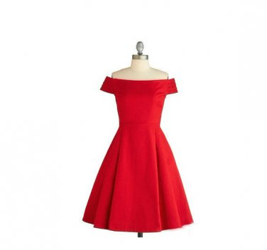Red A-line  Knee-length Off-shoulder Short Homecoming Dress, Short Evening Dress
