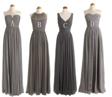 Custom Made Gray Chiffon Cheap Long Bridesmaid Dress, Graduation Dress,Simple Prom Dress