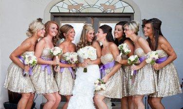Shiny Champagne Sequin Short Bridesmaid Dress,Above Knee Length Cheap Bridesmaid Dress,Prom Dress