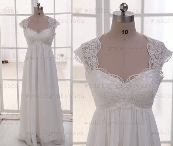 Hot Sales Cap sleeves Empire Waist Lace Maternity Wedding Dress  Pregnant Dress