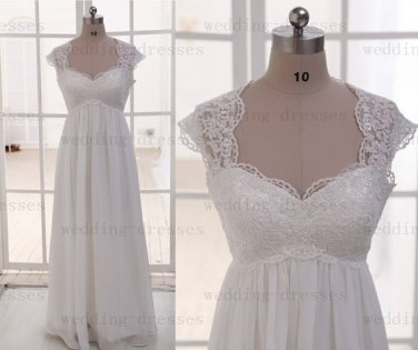 Hot Sales Cap sleeves Empire Waist Lace Maternity Wedding Dress  Pregnant Dress