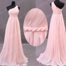 Elegant One Shoulder Pink Chiffon Empire Waist Long Bridesmaid Dress,Prom Dress