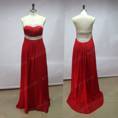 Custom Made Red Chiffon Beaded Long Prom Dress,Empire Waist Open Back Prom Dresses