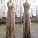 A Line V Neck Halter Open Back Champagne Long Cheap Bridesmaid Dress,Simple Prom Dress