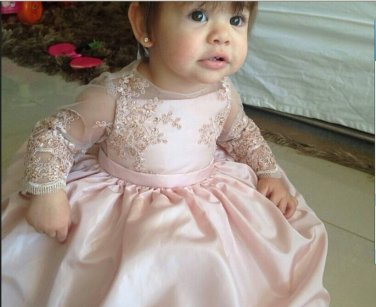 Long Sleeves Pink Lace  Flower Girl Dress Kids Birthday Party Dress Baby Dress