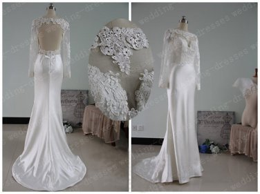 Sexy long sleeves open back white lace mermaid wedding dresses 2015 bridal wedding gown