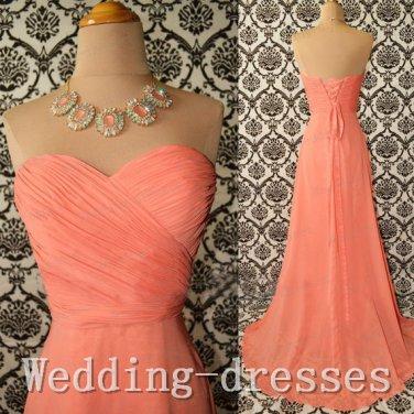 Simple a line sweetheart orange chiffon handmade cheap long bridesmaid dresses prom dresses