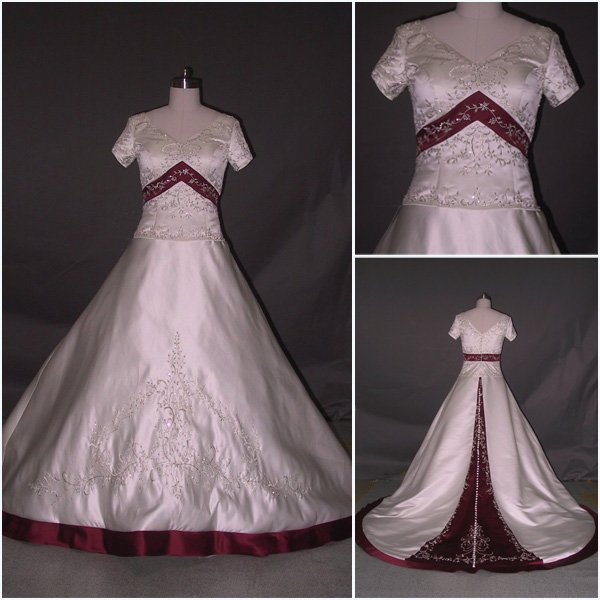 Short Sleeves Embroidery Royal Wedding Dress White And Red Satin Button Wedding Gown Wedding Dress