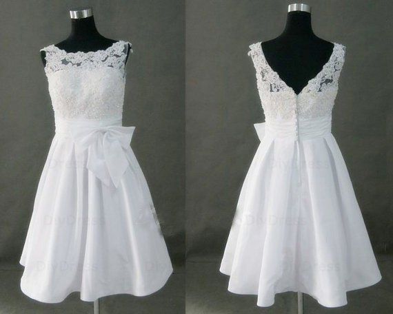 High Neck Princess Lace Bodice Taffeta Skirt Short White Bridal Wedding Gowns,Little White Dresses