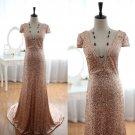 Dazzling Deep V Neck Short Sleeves Gold Sequined Sexy Bridal Wedding Dress Evening Prom Dress