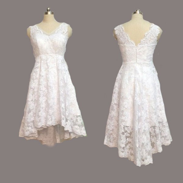 Vintage Lace Front Short Long Back Beach Wedding Dress,High Low Short Bridal Wedding Gown