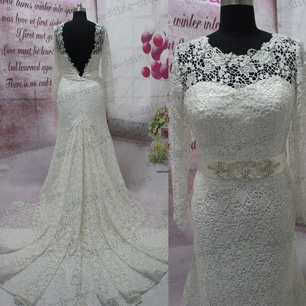 Long Sleeves Open Back Ivory Lace Mermaid Wedding Dress,High Neck Beaded Belt Bridal Wedding Gown