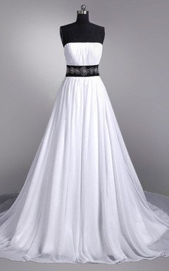 Strapless White Chiffon Back Belt Beach Wedding Dress,Hot Sales Cheap Bridal Wedding Gown