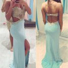 Hot Sales Light Blue Open Back Long Prom Dresses,Backless Evening Prom Gown