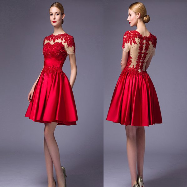 Short Sleeves Red Lace High Neck Homecoming Dresses, Short Prom Dresses